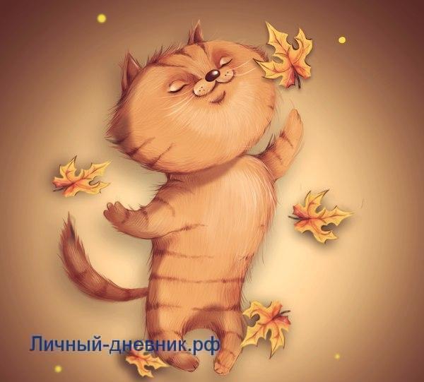 Осенний котик для личного дневника3