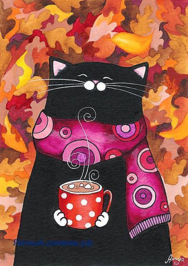 Осенний котик для личного дневника7