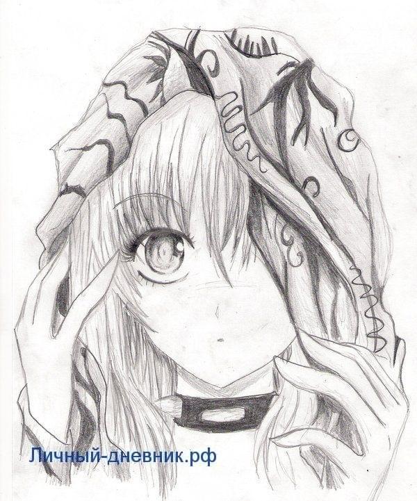 Аниме девушки для срисовки карандашом