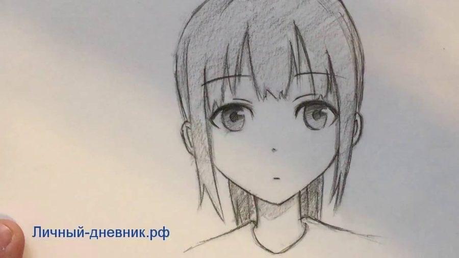Аниме девушки для срисовки простым карандашом