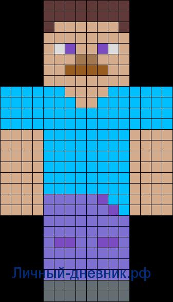 Стив из Майнкрафт по клеточкам.