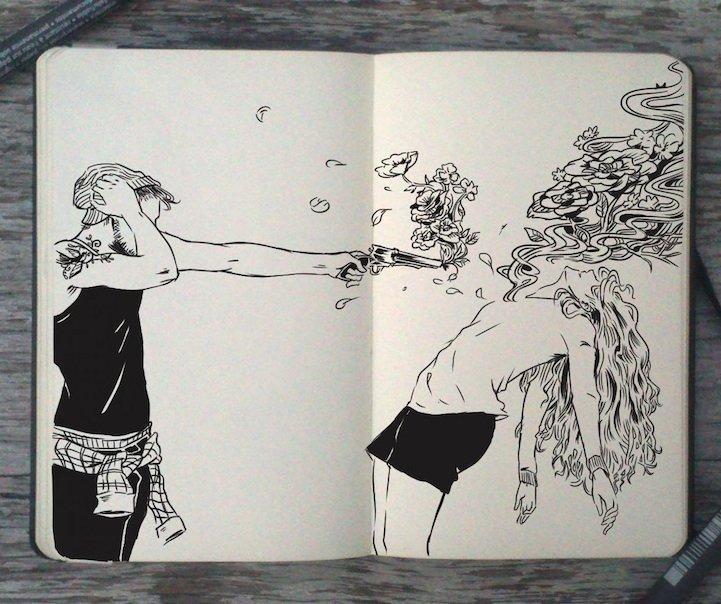 Рисунки в стиле Туммблер гелевой ручкой