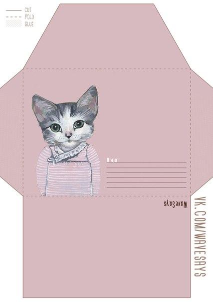 Цветные-конвертики-для-ЛД-Распечатки-в-хорошем-качестве- с котиком