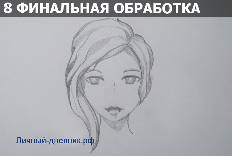Как нарисовать лицо девушки аниме