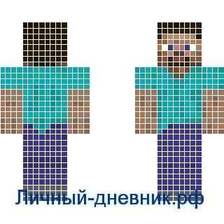 Стив из Майнкрафт по клеточкам
