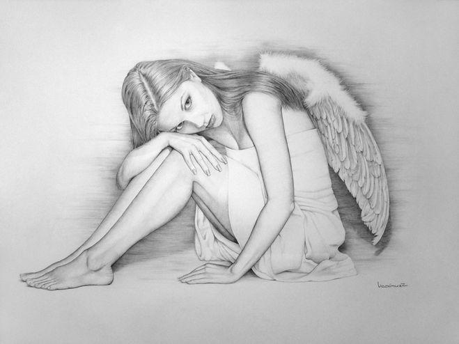 Девушки с крыльями ангела. Картинки для срисовки.