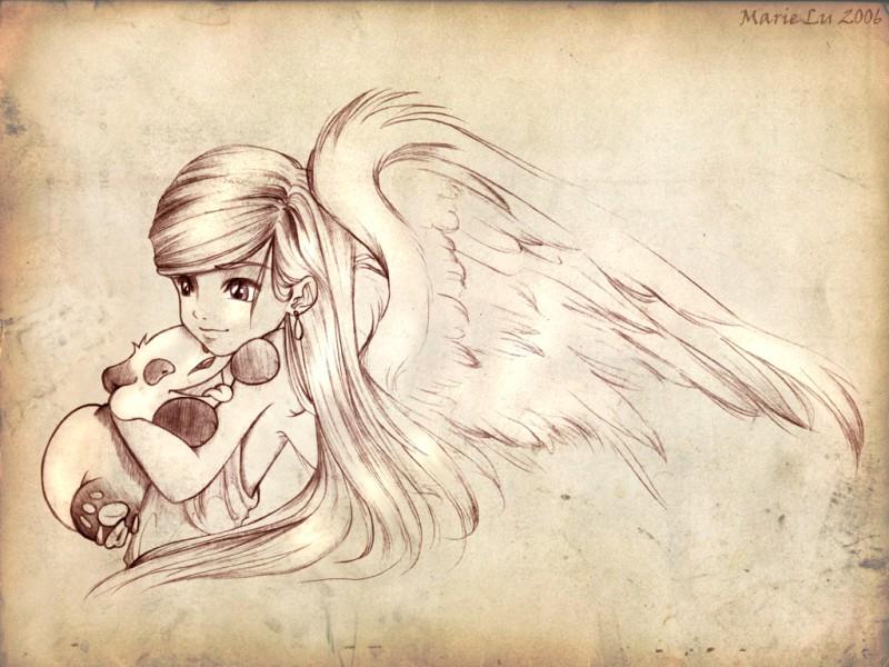 Девушка ангел картинки для срисовки, днем