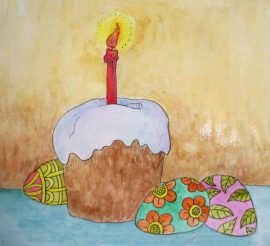 Картинки для срисовки на Пасху : куличик, яйки и зайчик